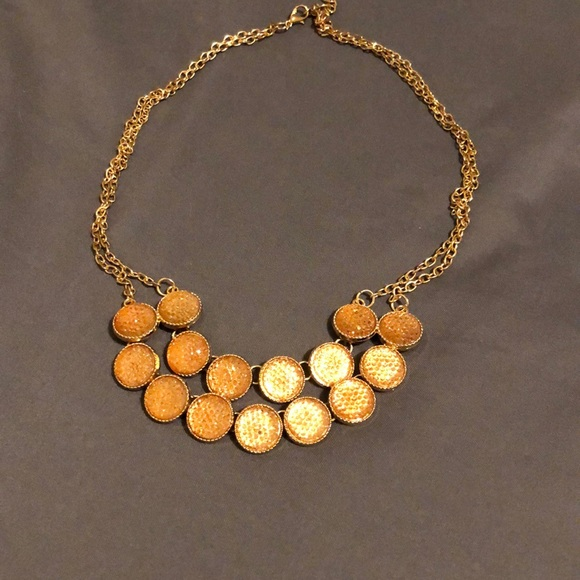 Francesca's Collections Jewelry - Gold duel chain necklace with rose gold gemstones